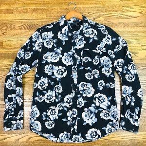 21Men Floral Button Front Shirt Small